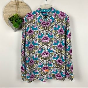 Talbot muted jewel tone floral button down size large